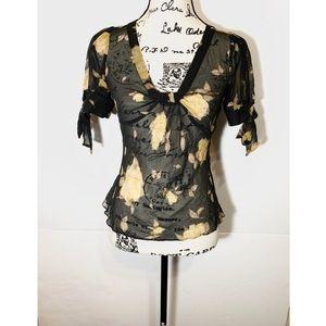 Odille Sheer Floral Tie Sleeve Silk Blouse